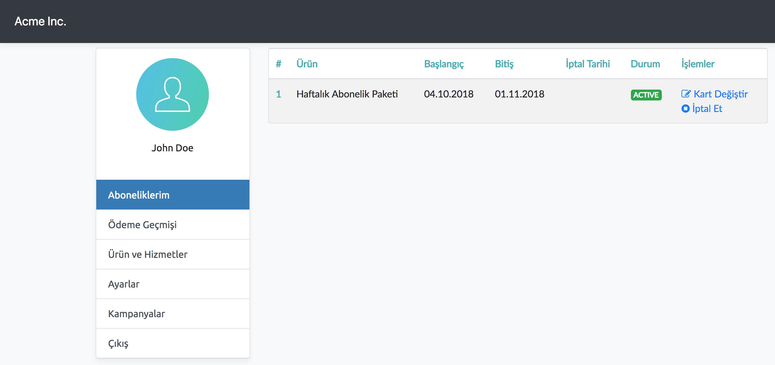 abone.io Online İşlem Merkezi, Customer Portal