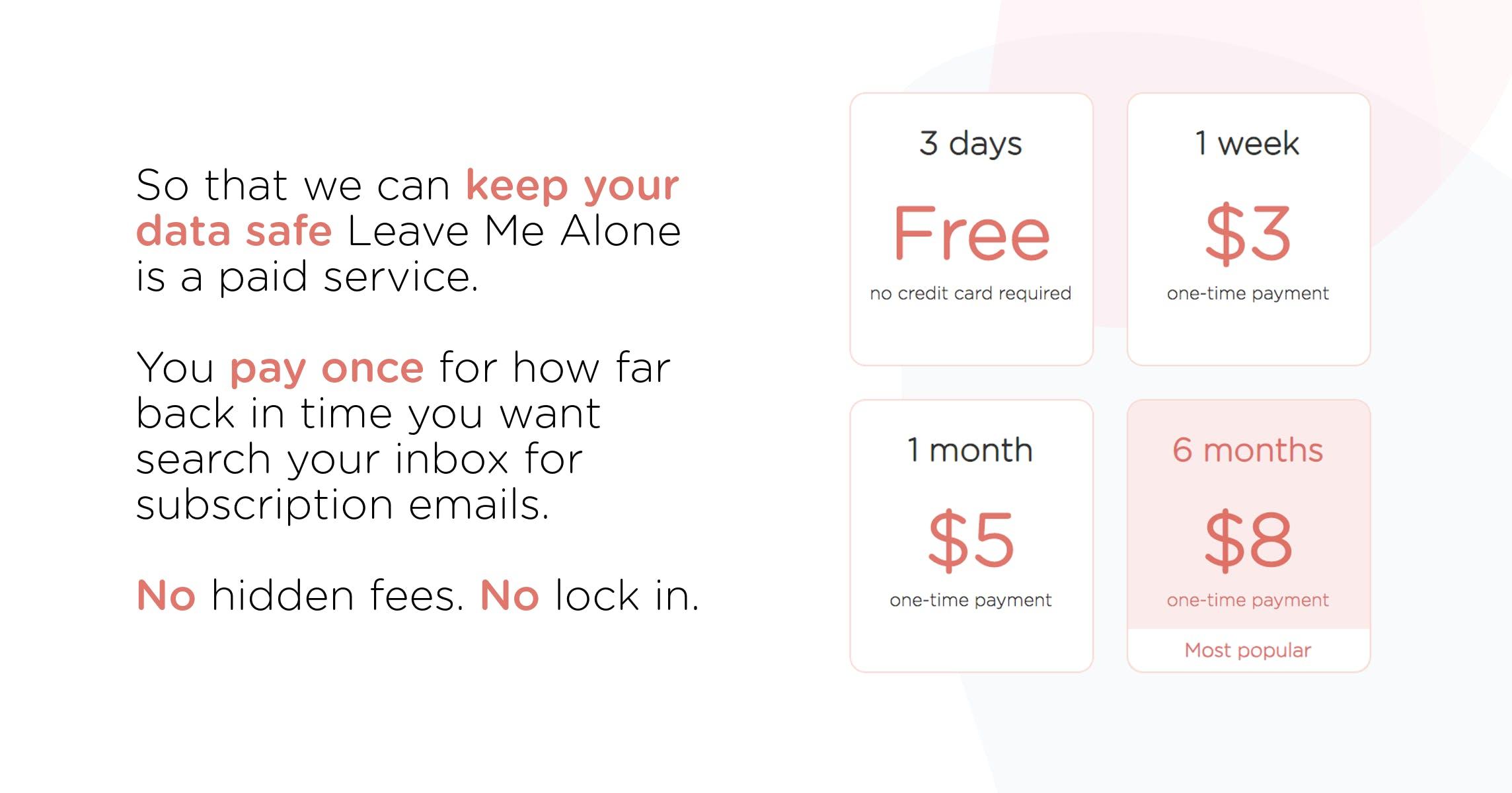 Leave Me Alone Abonelik Ücretleri